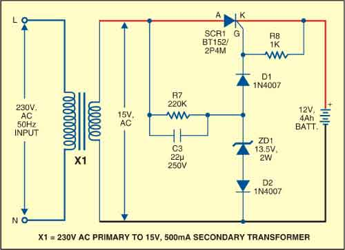 Fig. 2: Battery charger circuit (optional)