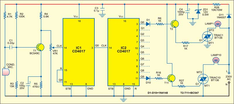 1: circuit for audio controlled running light