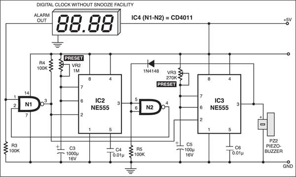 Fig. 2: Auto-snooze circuit for digital alarm clocks without snooze facility