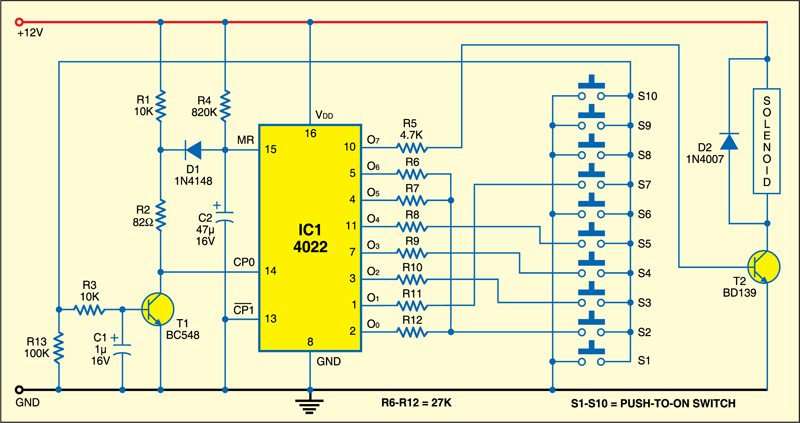 Electronic Combination Lock | Detailed Circuit Diagram Available