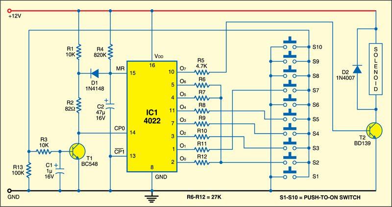 Fig. 1: Electronic combination lock circuit