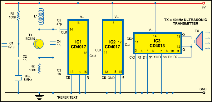 Ultrasonic Transmitter and Reciever | Circuit Diagram Available