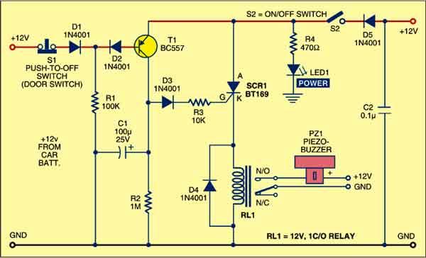 Fig. 1: Circuit of car anti-theft guard