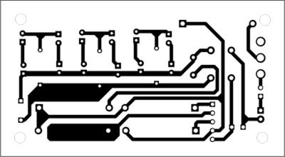 Fig. 2: An actual-size, single-side PCB for the AC-powered lamp
