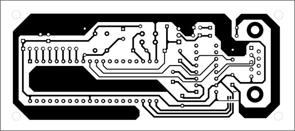 Fig. 7: An actual-size, single-side PCB for the controller board