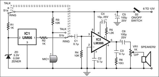 Fig. 1: Circuit for two-way intercom with musical ringtone