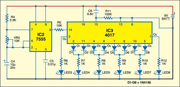 Fig. 3: Circuit for LED pendulum