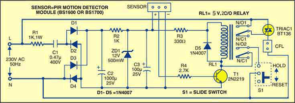Fig. 1: Circuit of motion sensor for security light