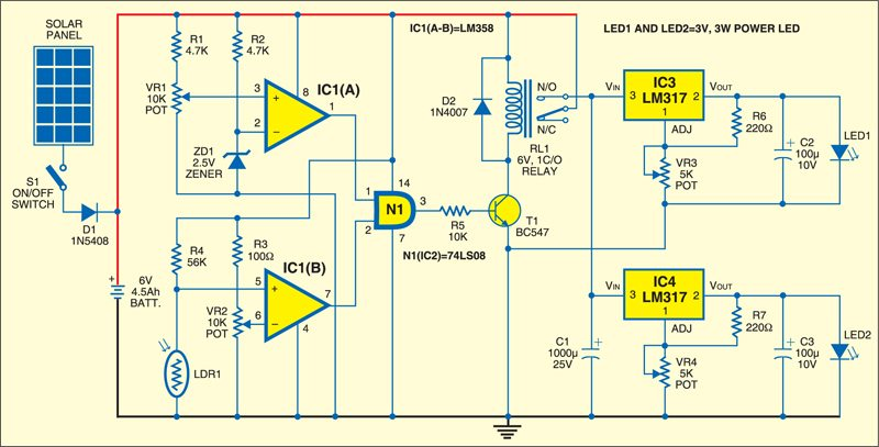 Fig. 2: Circuit of solar-powered pedestal lighting system