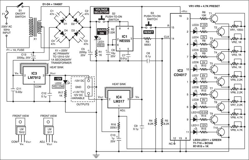 Variable Power Supply with Digital Control circuit