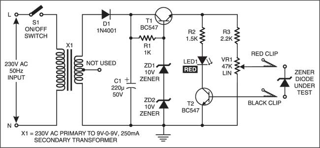 zener diode tester detailed circuit diagram available rh electronicsforu com power supply circuit diagram using zener diode schematic diagram zener diode