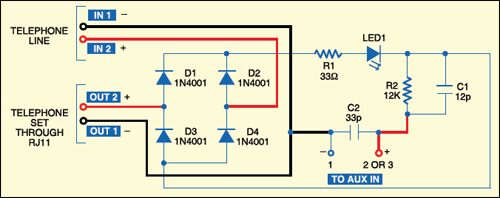 Fig. 1: Call recorder circuit