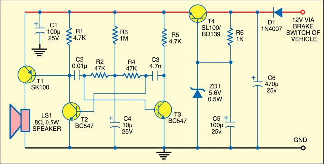 car reverse horn electronics for you rh electronicsforu com GM Car Horn Circuit musical car reverse horn circuit diagram