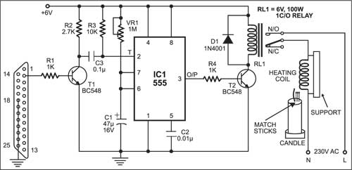 PC based candle igniter system circuit