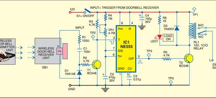 wireless rf remote control doorbell circuit diagram 1 wiringremote control using wireless doorbell