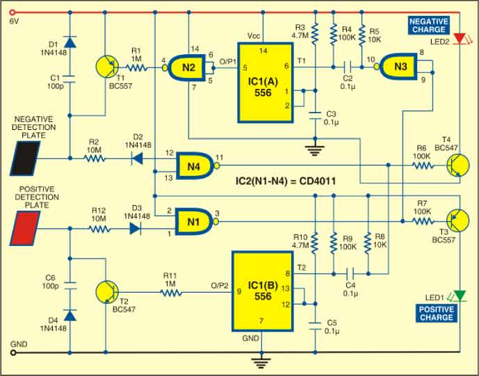 Fig. 1: Circuit of electronic electroscope