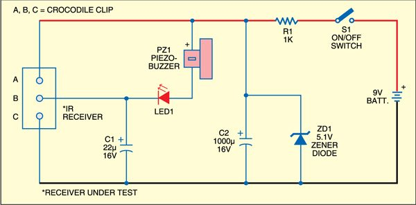 Fig. 1: ir receiver module tester circuit