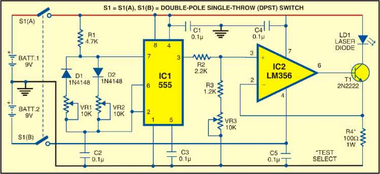 laser communication system detailed circuit diagram available