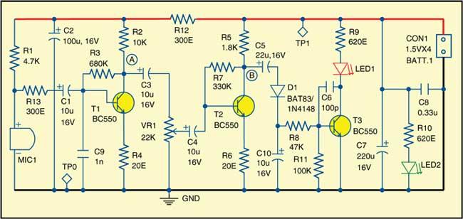 Fig. 1: Circuit of noise-level alarm