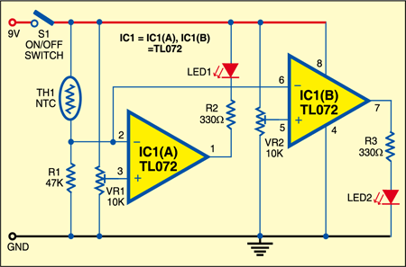Fig. 1: Circuit of the water temperature indicator