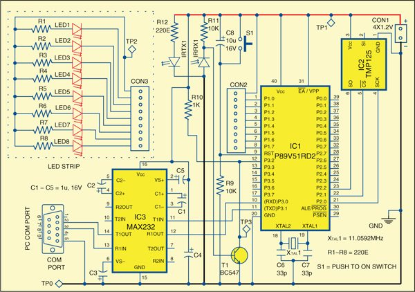 Fig. 3: Circuit of the propeller message display with temperature indicator