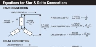 3 phase induction motor starter: star and delta connections