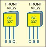 Fig. 3: Pinconfigurations oftransistors BC327and BC337