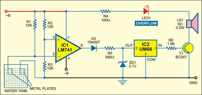 Fig. 1: Circuit of the water-tank overflow audio-visual indicator