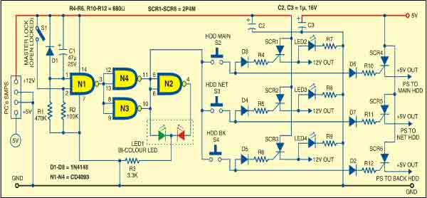 Fig. 2: Circuit of HDD selector switch