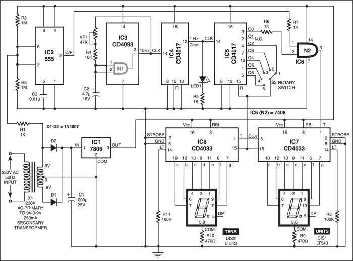 Frequency Meter Circuit Schematic : Frequency meter detailed circuit diagram available