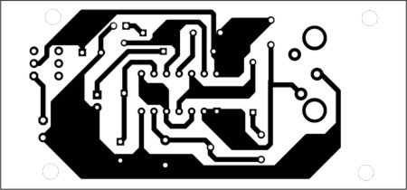 Fig. 3: An actual-size, single-side PCB for bedwetting alarm