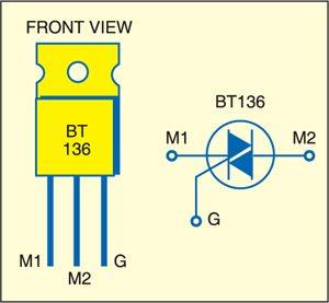 Fig. 2: Pin configuration andsymbol of triac BT136