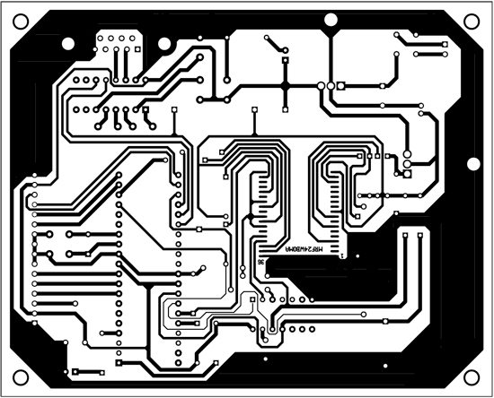 Fig. 8: Actual-size, single-side PCB layout of the Wi-Fi embedded system