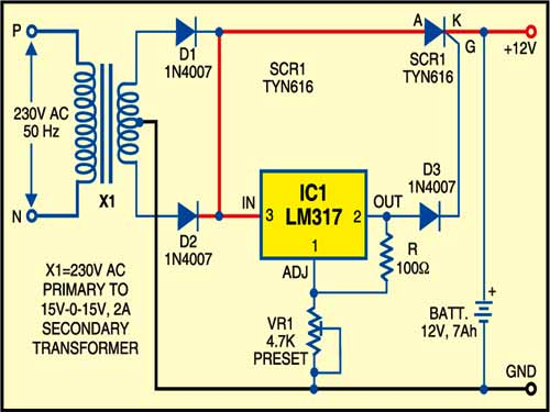 Fig. 1: Battery charger with cut-off circuit