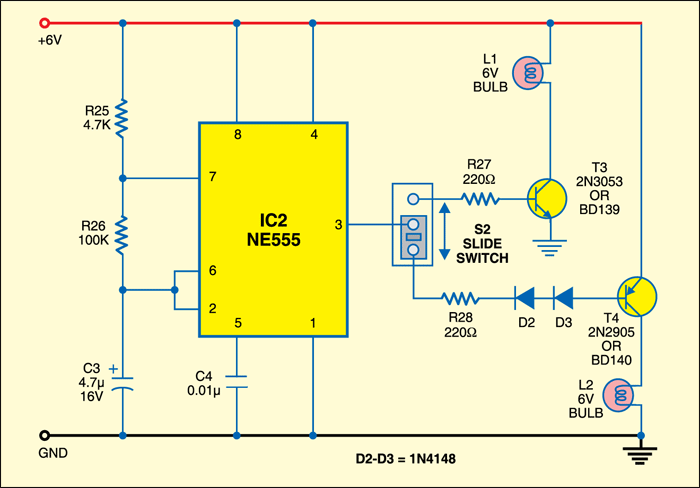 Fig. 2: Circuit of bulb flasher