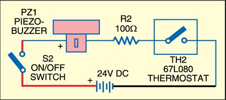 Fig. 2: Circuit for aural indication of over-heated pipe