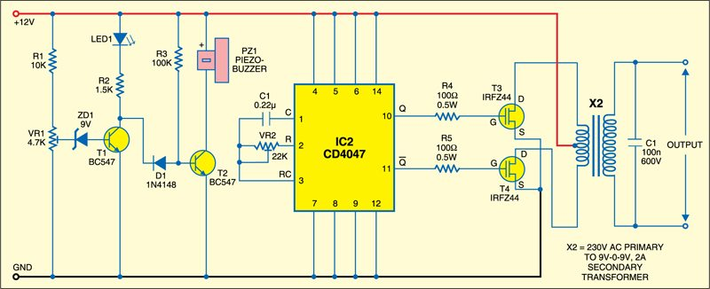 Fig. 2: Battery level indicator and inverter circuit