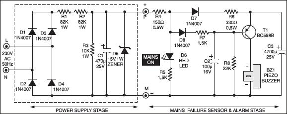 Power Supply Failure Alarm Circuit