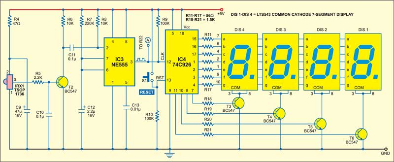 Fig. 4: Circuit of infrared interruption counter