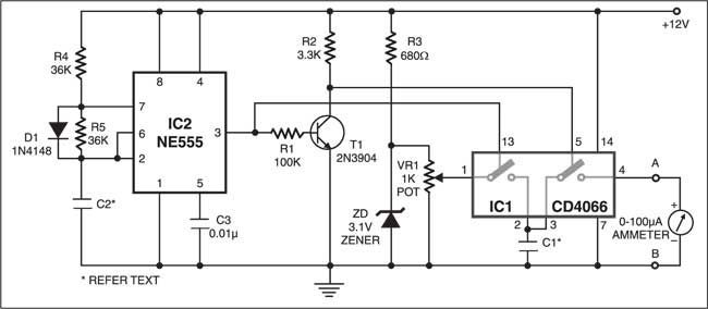 Fig. 2: Circuit for simulation of resistor with switched capacitor