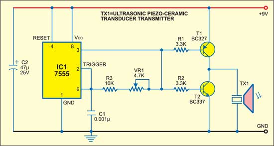 Ultrasonic Proximity Detector Detailed Circuit Diagram Available