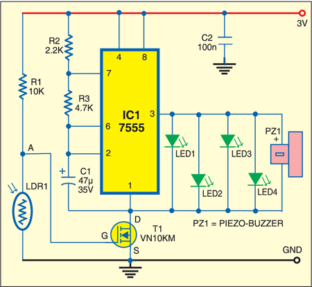 Fig. 1: Electronic glow-worm circuit
