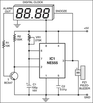 Fig. 2: Auto-snooze circuit for digital alarm clock without snooze facility