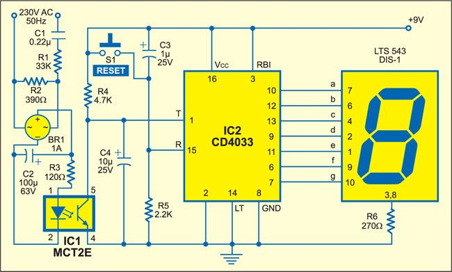 Fig. 1: Circuit of mains interruption counter with indicator