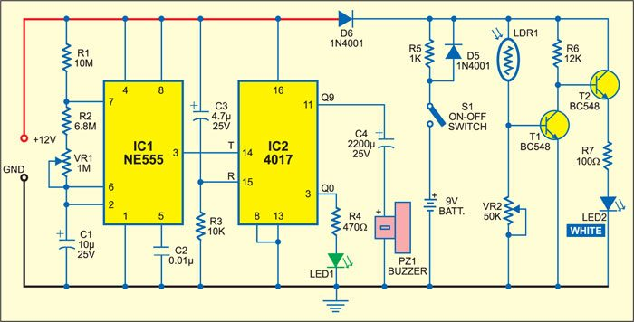 Fig. 1: Circuit of power-on reminder with LED lamp