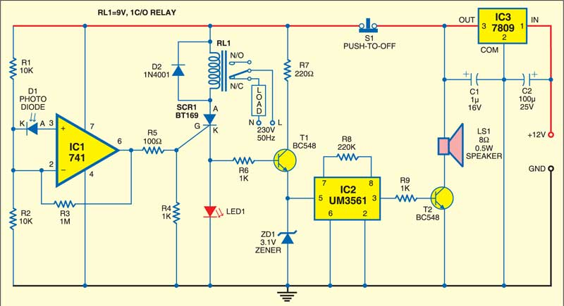 photodiode based fire detector detailed circuit diagram available circuit diagram of fire alarm using lm741 1 circuit of the photodiode based fire detector