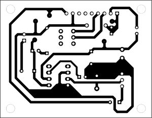 Fig. 2: An actual-size, single-side PCB for the electronic chanting device