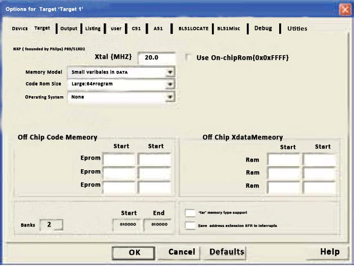 Fig. 7: Screenshot of 'Options for Target 1' window