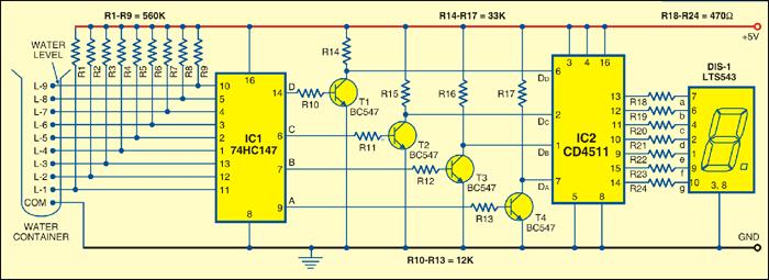 Water level indicator full circuit diagram with explanation water level indicator circuit ccuart Gallery