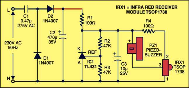 Fig. 2: Pin configuration of TL431 and TSOP 1738